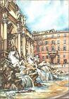 CARTOLINA - ROMA - FONTANA DI TREVI - ILLUSTRATORE ALDO RAIMONDI - 1950