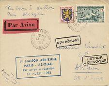 LETTRE 1ere LIAISON AERIENNE PARIS POUR ABIDJAN COTE D'IVOIRE 14 AVRIL 1953