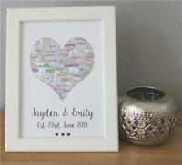 Personalised Love Heart Map Valentines Present Anniversary Est. Date His & Her