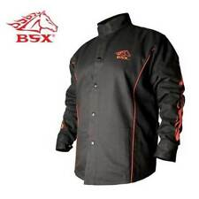 Revco BSX BX9C 9oz. FR Cotton Welding Jacket Black W/ Red Flames  2 XL New