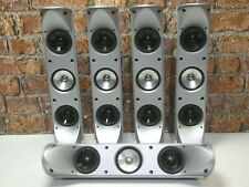 Set Of 5 Boxed KEF HTS 5001 Silver Home Theatre Surround Sound Loud Speakers