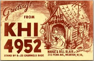 WEIRTON, West Virginia WV Vintage QSL / Ham Radio Postcard Margie & Bill Blair
