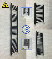 400mm wide Black Designer Electric Heated Towel Rail Radiator Straight Bathroom