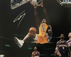 Shaq Shaquille O'Neal Signed 16x20 Photo Dunk Lakers Beckett BAS Witnessed