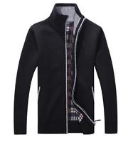 New Men Casual Cardigan Full Zip Stand Collar Knit Jacket Short Sweaters Coat