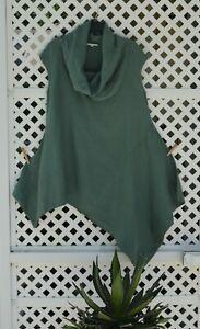 BRYN WALKER $136 Cowl Neck 100% Linen Asymmetric Lagenlook Tunic Top Size Small
