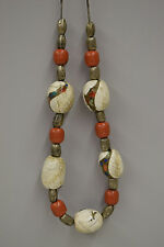 Tibet Conch Shell Coral Tuareg Silver Beads Inlaid Turquoise Coral Necklace