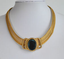 VINTAGE HIGH END Victorian Revival Black Cameo MESH COLLAR NECKLACE GOLD tone