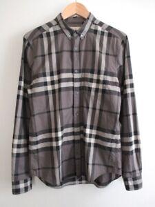 Burberry Brit Men's Nova Check Long Sleeve Cotton Button Down Shirt Grey Size M