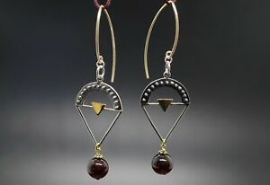 Silver Triangle Charm with Granulation and Red Garnet Dangle Earring Mexed Metal