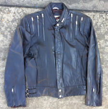 Vintage 70s 80s Punk New Wave Rock Tour Zippers Black Leather Coat Jacket