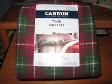 TWIN FLANNEL SHEET SET CANNON 100% COTTON COUNTRY RED & GREEN PLAID 3PCS SET NEW