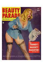 Pin Up Girl Poster 11x17 Beauty Parade magazine cover art blonde nylons kitten