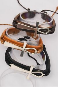 Real leather bracelet with sideways Ankh symbol - adjustable