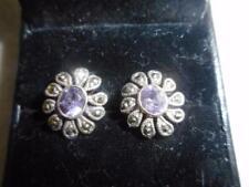 925 sterling & .4 carat / .8 TCW amethyst & marcasite flower pierced earrings