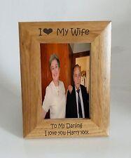 Wife Photo Frame 5 x 7 - I heart-Love My Wife 5 x 7 Photo Frame - Free Engraving