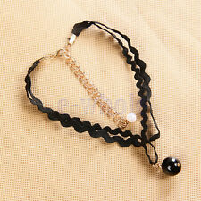 Punk lace bead Velvet Leather lace Tattoo Necklace cz pendant DT