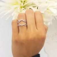 0.65Ct Round Diamond 18K White Gold Over Wedding Split Shank Enhancer Guard Ring