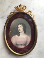 "Antique Brass Picture Frame 6""x4"" Oval Ornate Crown Velvet Engraving"