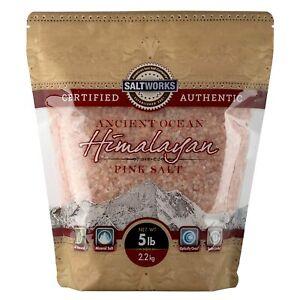 SaltWorks Ancient Ocean Himalayan Pink Salt, Medium Grain, 5 Pound Bag