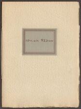 Catalogue Exposition Odilon Redon. De Hauke & Cie. New-York. 1928. Draeger