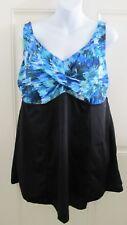 Swim 365 One Piece Swimsuit Swimdress Plus 18 Tier Black Blue Floral Padded NWOT