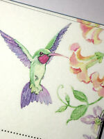 Set of 34 STATIONARY SHEETS Vintage HUMMINGBIRD DESIGN WITH FLOWERS New