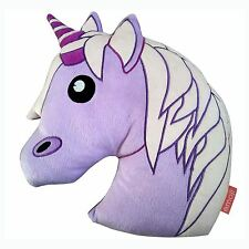 EMOJI UNICORN EMBROIDERED CUSHION PURPLE GIRLS KIDS OFFICIAL