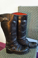 VINTAGE 70'S DISTRESSED LEWIS LEATHERS MOTORCYCLE BOOTS SIZE 6 WESTWAY W10