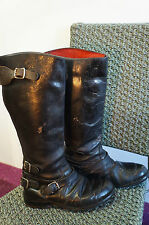 VINTAGE DISTRESSED LEWIS LEATHERS MOTORCYCLE BOOTS SIZE 6 WESTWAY W10
