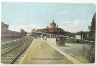VINTAGE 1909 POSTCARD UNION R.R. STATION S. BETHLEHEM PA railroad train railway