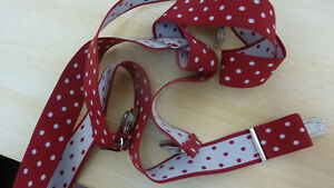 BEAUTIFUL ELASTICATED BRACES RED WITH WHITE DOTS #951