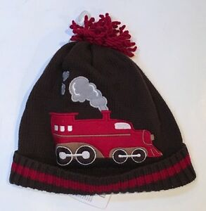 NWT Gymboree Holiday Traditions  2T-3T Brown Train Pom Pom Sweater Hat