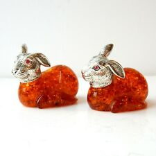 Vintage Amber Ruby Rabbit Hare Figure Continental Silver