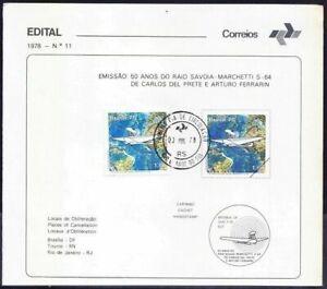 Brazil 1978 cancel on paper, 50 Years Raid Savoia Marchetti, Aviation Maps War