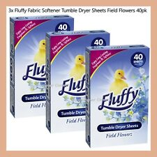 120 Sheets Fluffy Fabric Softener Tumble Dryer Sheets Field Flowers 3x 40Pack