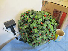 Out door solar Light up Holly Ball Hanging ball Christmas garden Display boxed