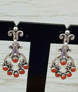 Signed Q.T. 925 Quoc Trading Native American Coral Petit point Earrings