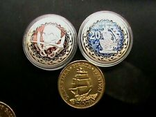 2~Fantasy~Pirate Coins~10 & 20 Doubloons coins~Silver Dollar Size & 5 Free Gifts