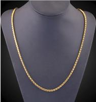 18k feine Goldkette Königskette vergoldet 60cm lang 2MM Damen Herren Halskette