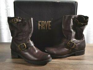 Frye Veronica Short Leather Boots Women's Size 7 MED Biker Dark Brown 76509