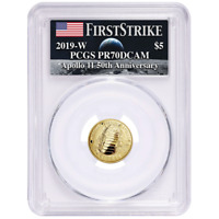2019-W Proof $5 Gold Apollo 11 50th Ann PCGS PR70DCAM FS Apollo Label