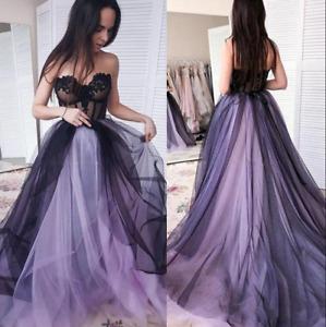 Gothic Wedding Dresses Black and Purple Tulle Off Shoulder Applique Bridal Gown