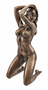 Bronzed Finish Nude Woman Kneeling Pose Statue  Art