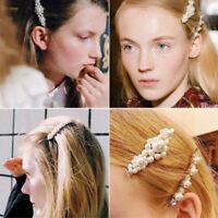 Fashion Women Pearl Hair Clip Snap Bobby Barrette Stick Hairpin Hair Accessories