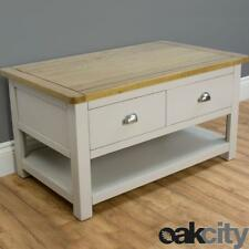 Wellington Grey Oak Coffee Table 2 Drawers & Shelf / Painted With Solid Oak Top