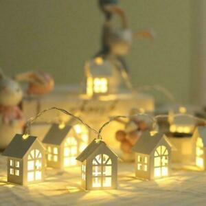 LED Garland Wood House String Lights String Lamp Wedding Light Party Fairy B6B0