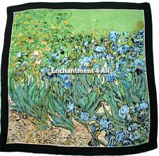 "Large 35""x35"" Handmade 100% Silk Art Scarf Wrap Handrolled w Van Gogh's ""Irises"""