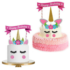 Unicorn Cake Topper Kit Kids Happy Birthday Banner Cake Party Glitter Decoration