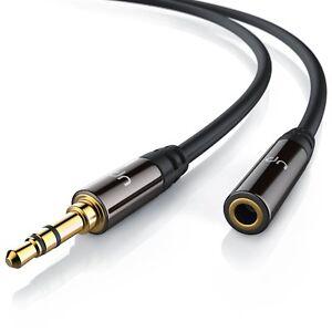 1m Audio Kabel Verlängerung 3,5mm Klinke Stecker Jack Buchse schwarz